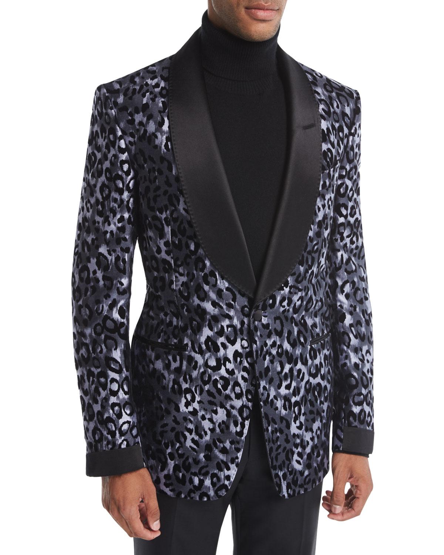 Tom Ford Shelton Base Leopard Print Silk Tuxedo Jacket