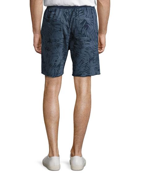 Tropical Palm-Print Sweat Shorts, Indigo