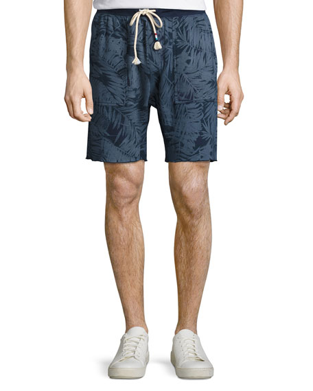 Sol Angeles Tropical Palm-Print Sweat Shorts, Indigo