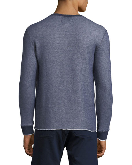Denim-Look Raw-Edge Sweater