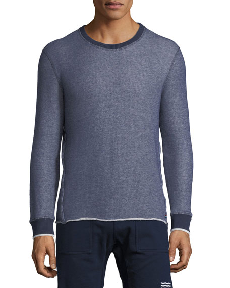 Sol Angeles Denim-Look Raw-Edge Sweater