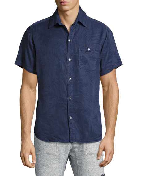 Sol Angeles Inverse Palm-Print Short-Sleeve Shirt, Indigo