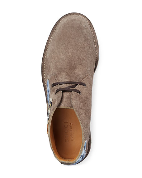 New Moreau Suede Boot with Appliqu&#233s, Light Brown
