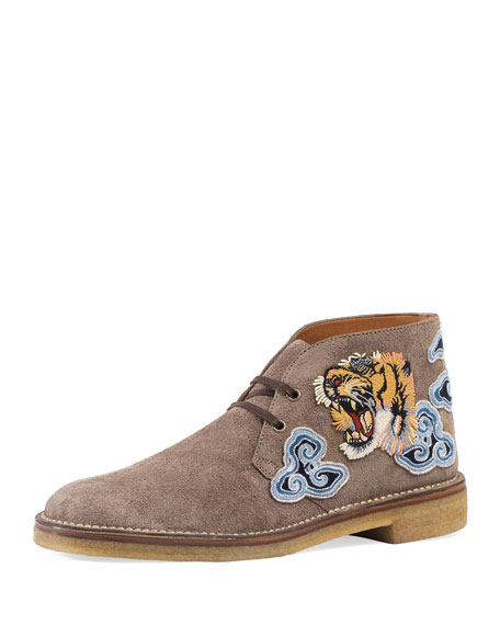 Gucci New Moreau Suede Boot with Appliqu&#233s, Light