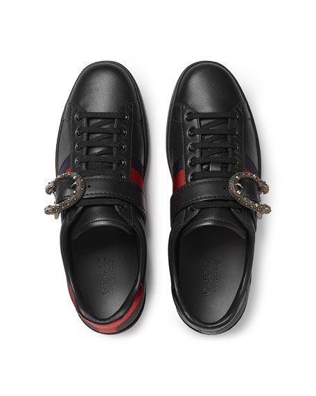 Men's New Ace Leather Low-Top Sneakers with Dionysus Buckle, Black