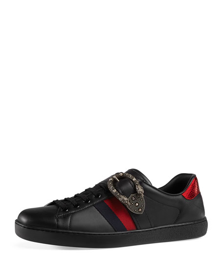 gucci men 39 s new ace leather low top sneakers with dionysus. Black Bedroom Furniture Sets. Home Design Ideas