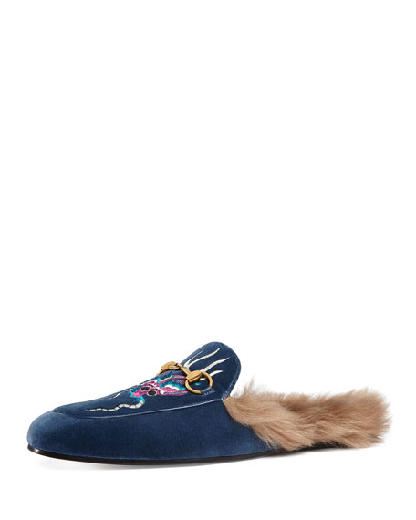Gucci Princetown Velvet Embroidered Fur-Lined Slipper, Blue