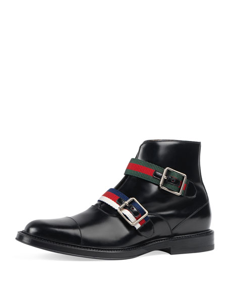 Gucci Beyond Leather Boot with Web Buckles, Black