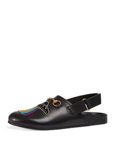 a40d512cb Gucci River Horsebit Leather Slipper with Appliqués, Black | Neiman Marcus