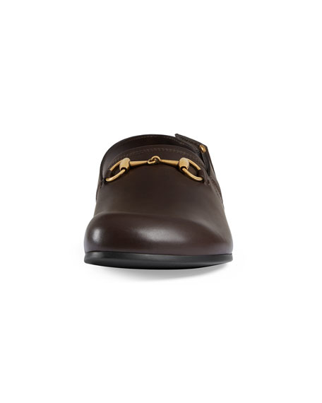 River Leather Horsebit Slide, Brown