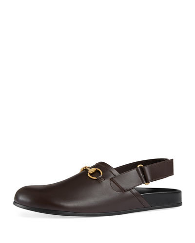 River Leather Horsebit Slide, Brown