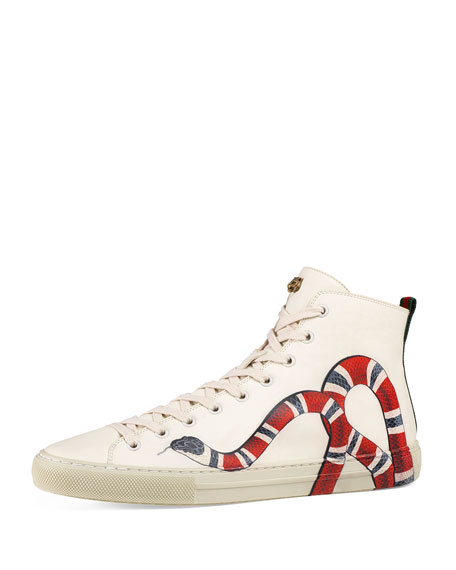 Gucci Major Snake-Print Leather High-Top Sneaker, White