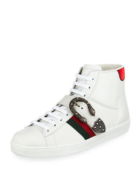 Gucci Men's Ace High-Top Sneakers with Dionysus Buckle