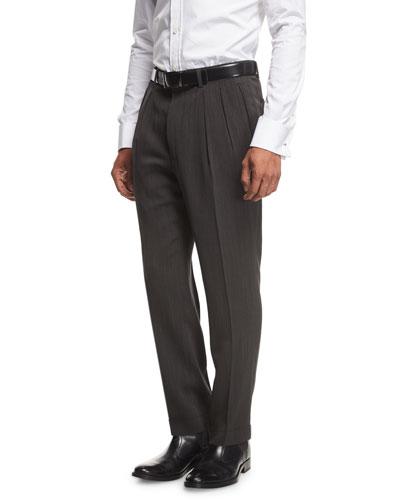 Shelton Base Melange Twill Pleated Trousers, Black/Brown