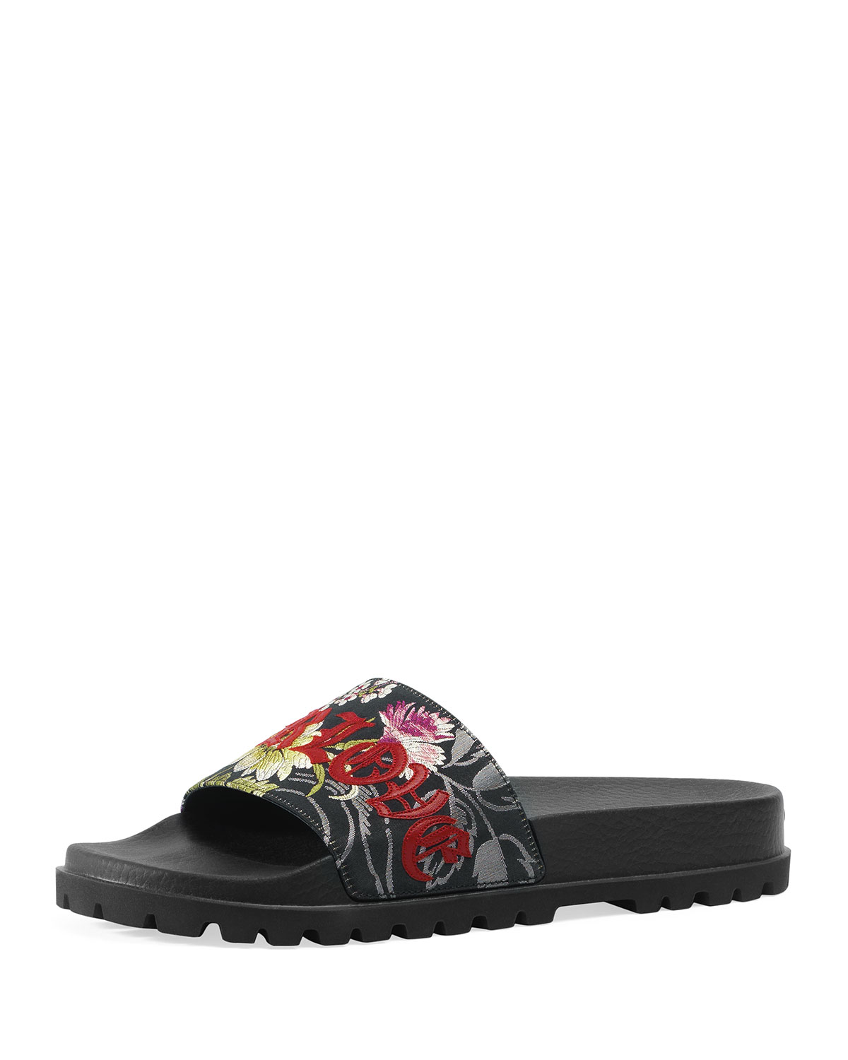 a585f8a79 Gucci Men s Pursuit Treck Floral Jacquard Slide Sandals