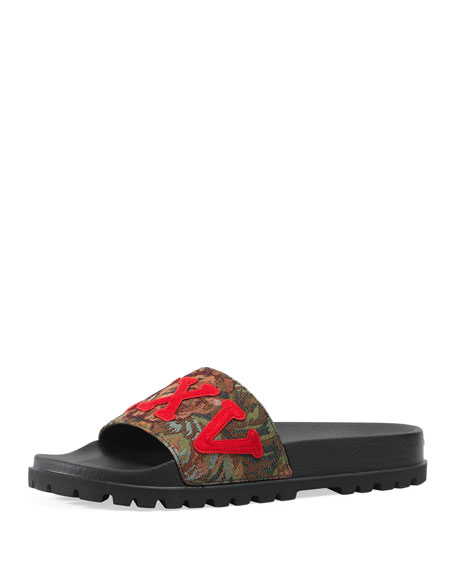 Gucci Pursuit Treck Floral Brocade Slide Sandal, Multicolor