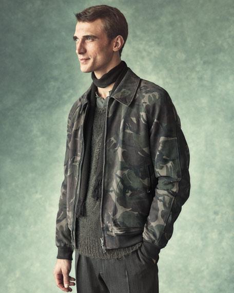 Shelton Base Melange Twill Pleated Trousers, Black/Grey