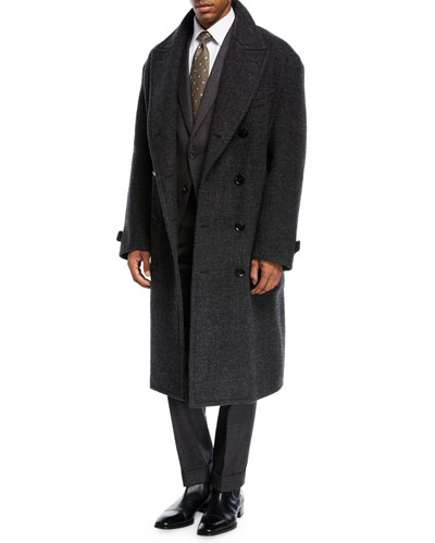 Plaid Double-Breasted Overcoat