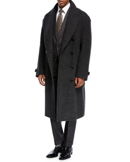 TOM FORD Plaid Double-Breasted Overcoat