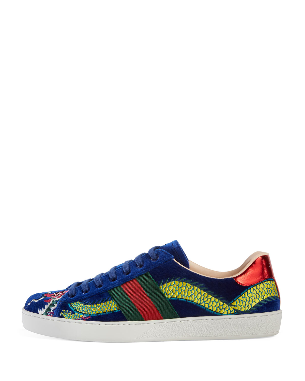 b286584ff Gucci New Ace Embroidered Velvet Low-Top Sneaker, Blue | Neiman Marcus
