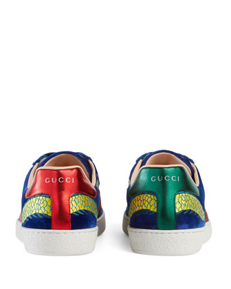 Gucci New Ace Embroidered Velvet Low
