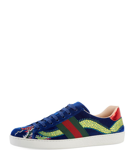 Gucci New Ace Embroidered Velvet Low-Top Sneaker, Blue