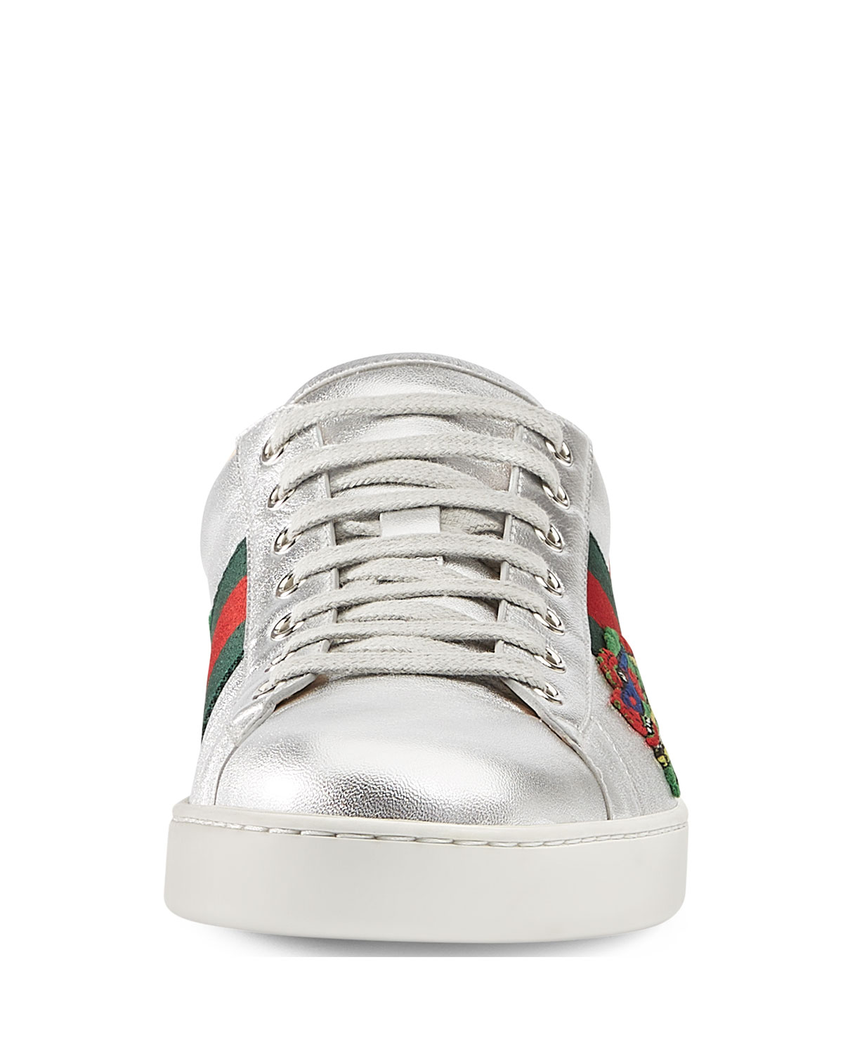 f323a2bb8 Gucci Men's New Ace Embroidered Leather Low-Top Sneakers, Silver | Neiman  Marcus