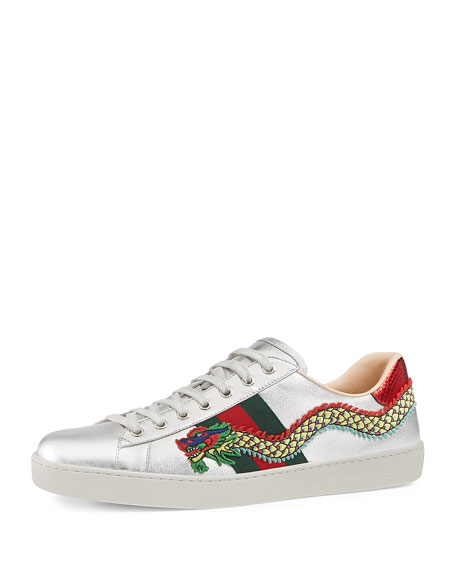 Gucci New Ace Embroidered Leather Low-Top Sneaker, Silver