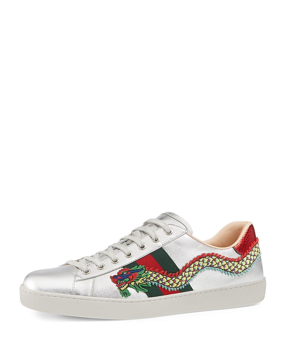cedf4f8d41bf Gucci Men s New Ace Embroidered Leather Low-Top Sneakers