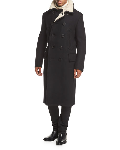 Shearling-Trim Pea Coat
