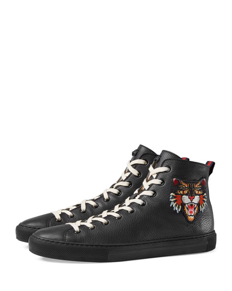 Men's Major Leather High-Top Sneakers with Appliqu&#233s, Black