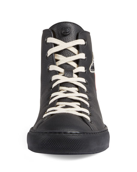 Major Leather High-Top Sneaker with Appliqu&#233s, Black