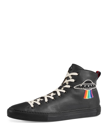 Gucci Men's Major Leather High-Top Sneakers with Appliqu??s,