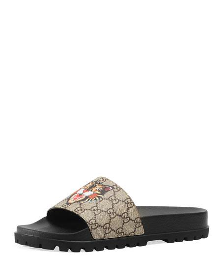 Gucci Pursuit Treck Gg Supreme Cat Amp Eye Slide Sandal