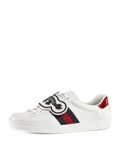 Gucci Men's New Ace Leather Low-Top Sneakers with