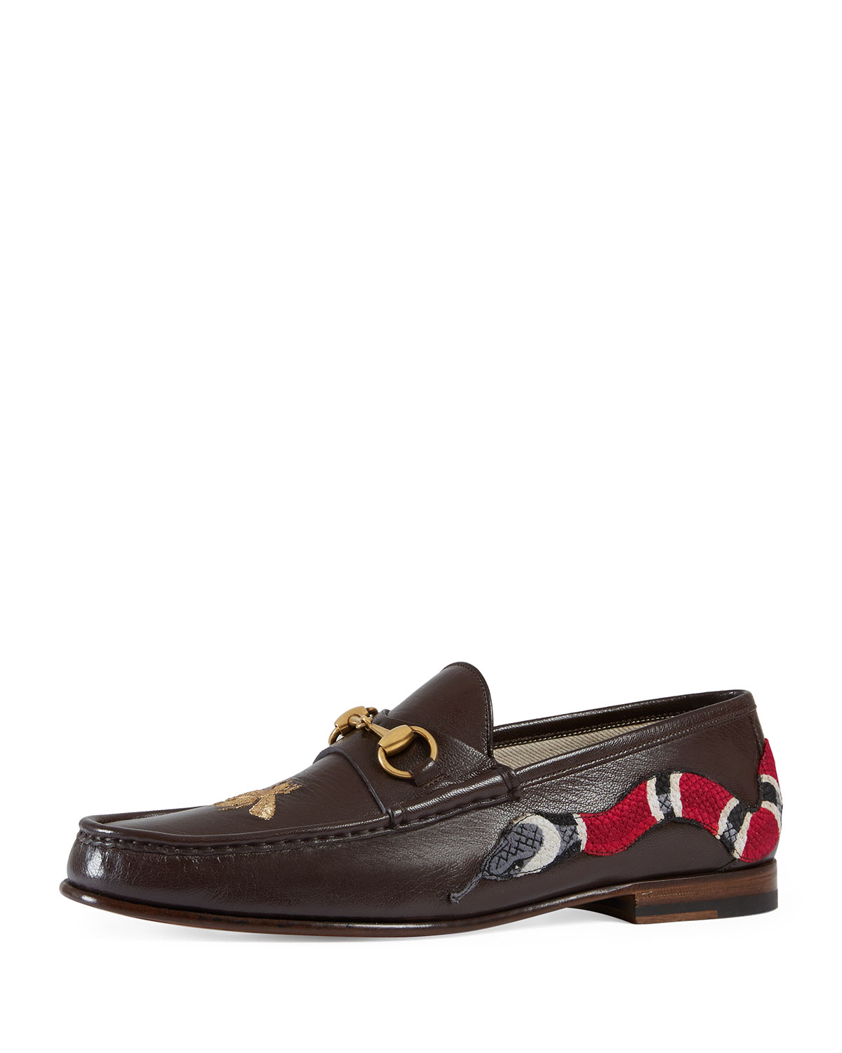 875948ce8 Gucci Roos Leather Moccasin Loafer with Snake, Brown | Neiman Marcus
