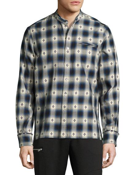 Crosby Raw-Edge Plaid Diamond Cotton Shirt, Blue