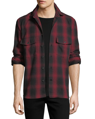 BLK RED FLANNEL W EAGLE BACK