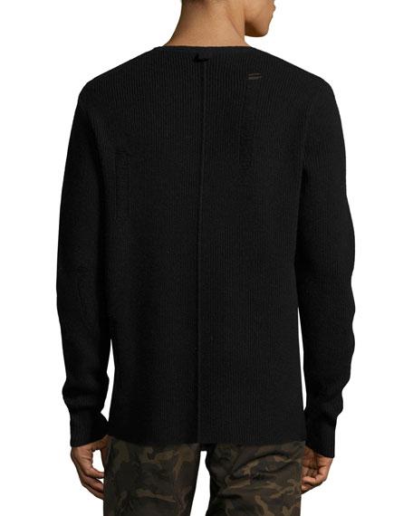 Distressed Ribbed Wool Sweater, Black