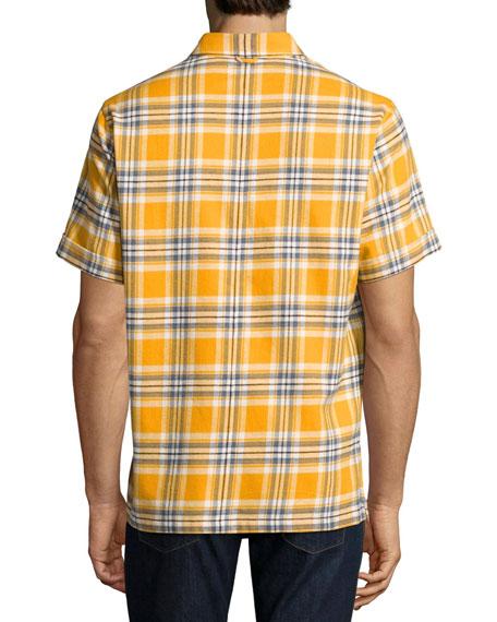 Plaid Short-Sleeve Camp Shirt, Mustard