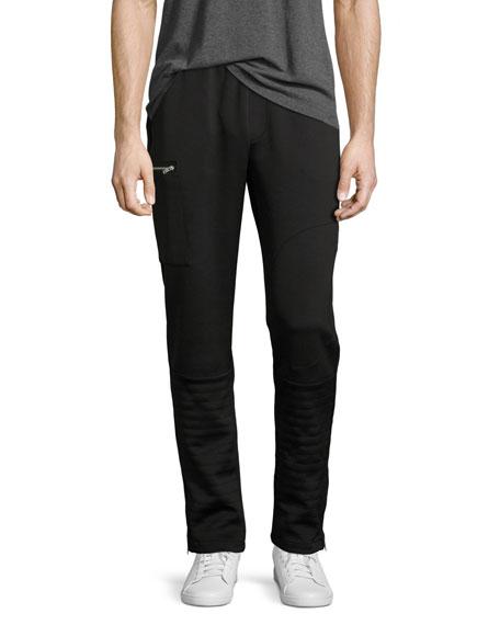 Zip-Pocket Moto Pants, Black