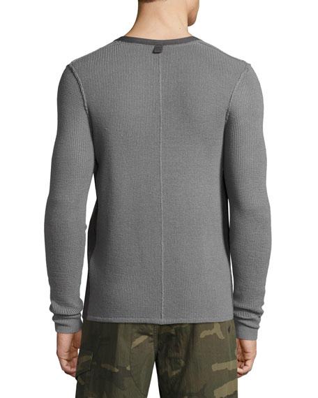 Zack Waffle Merino Wool Henley Shirt, Gray