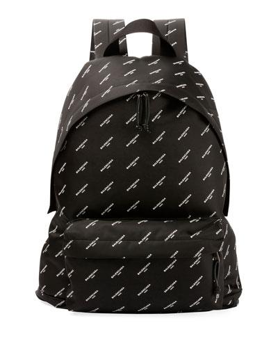 Explorer Logo-Print Canvas Backpack, Black/White