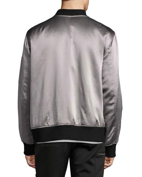 OS-1 Reversible Satin Bomber Jacket, Black/Gray