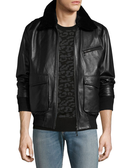 Drakon Lamb Leather Bomber Jacket with Shearling Collar, Black