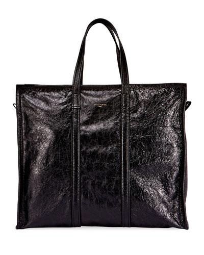 Men's Bazar Leather Large Tote Bag, Noir