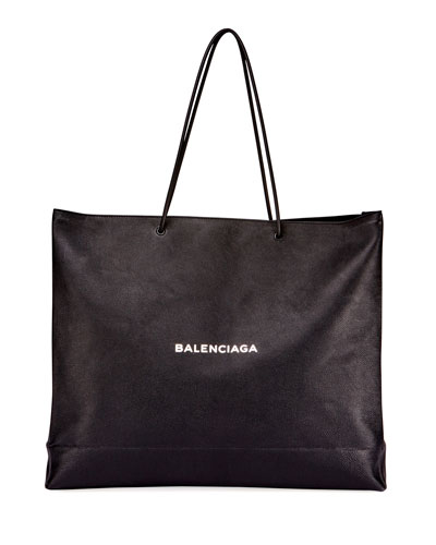 Men's Large East-West Tote Bag, Black/White