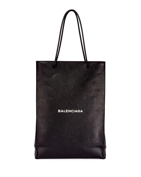 Balenciaga Men's Medium North-South Leather Tote Bag, Black/White