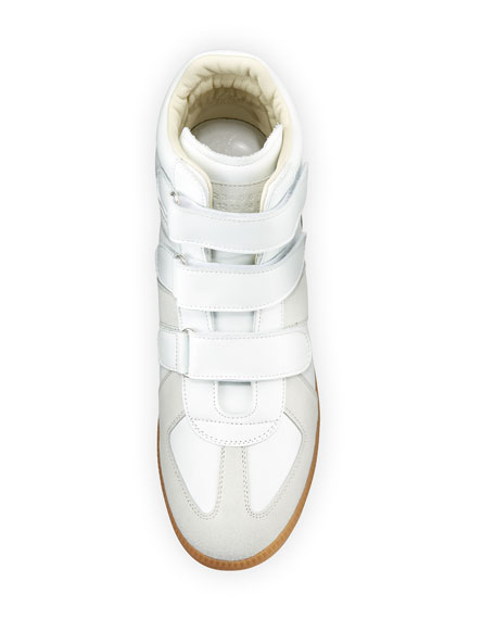 Triple-Strap Leather & Suede High-Top Sneaker, White