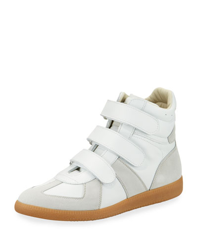 Men's Triple-Strap Leather & Suede High-Top Sneakers  White